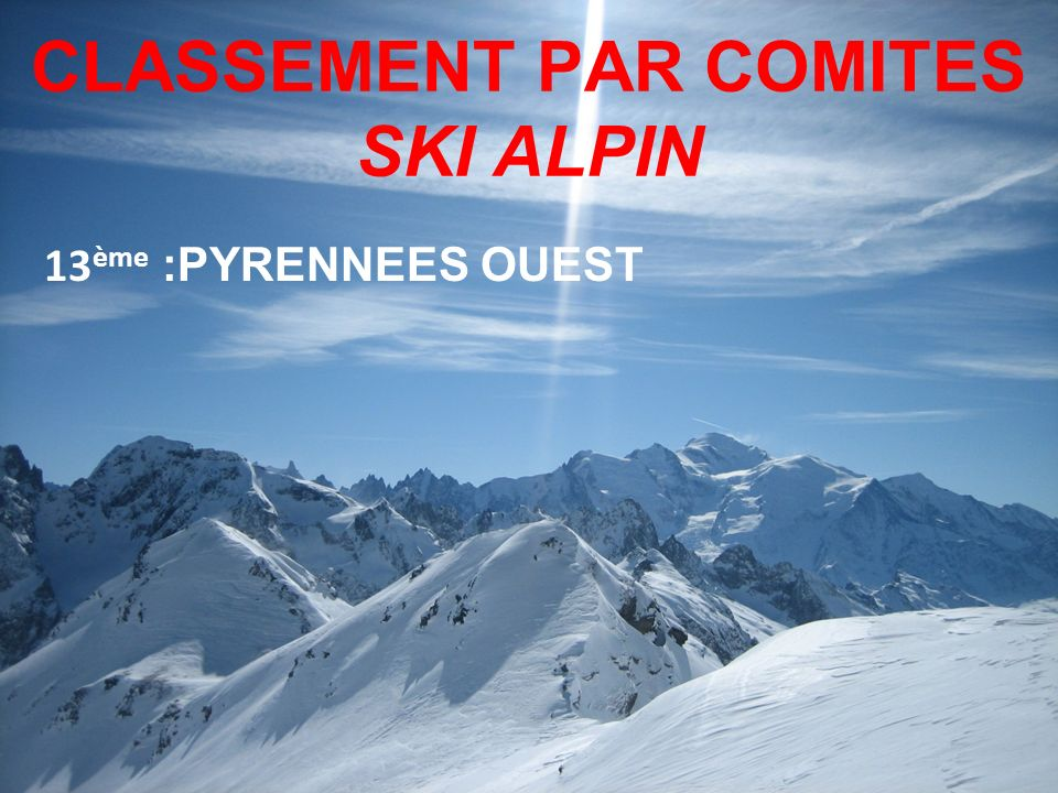 CLASSEMENT PAR COMITES SKI ALPIN