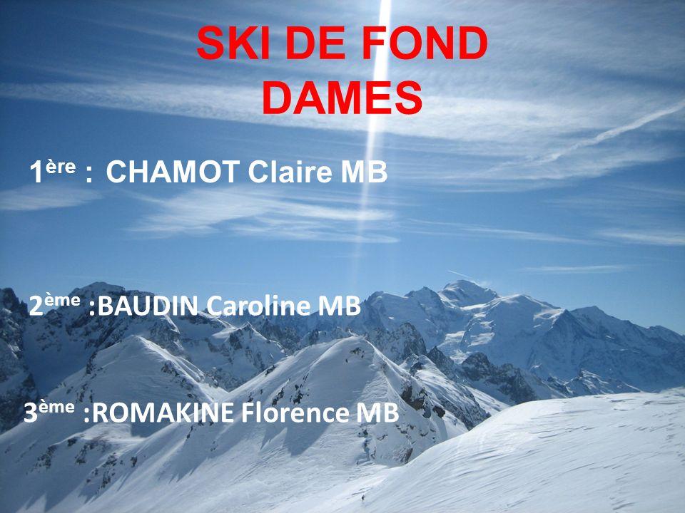 SKI DE FOND DAMES 1ère : CHAMOT Claire MB 2ème : BAUDIN Caroline MB
