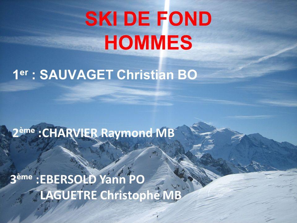SKI DE FOND HOMMES 1er : SAUVAGET Christian BO