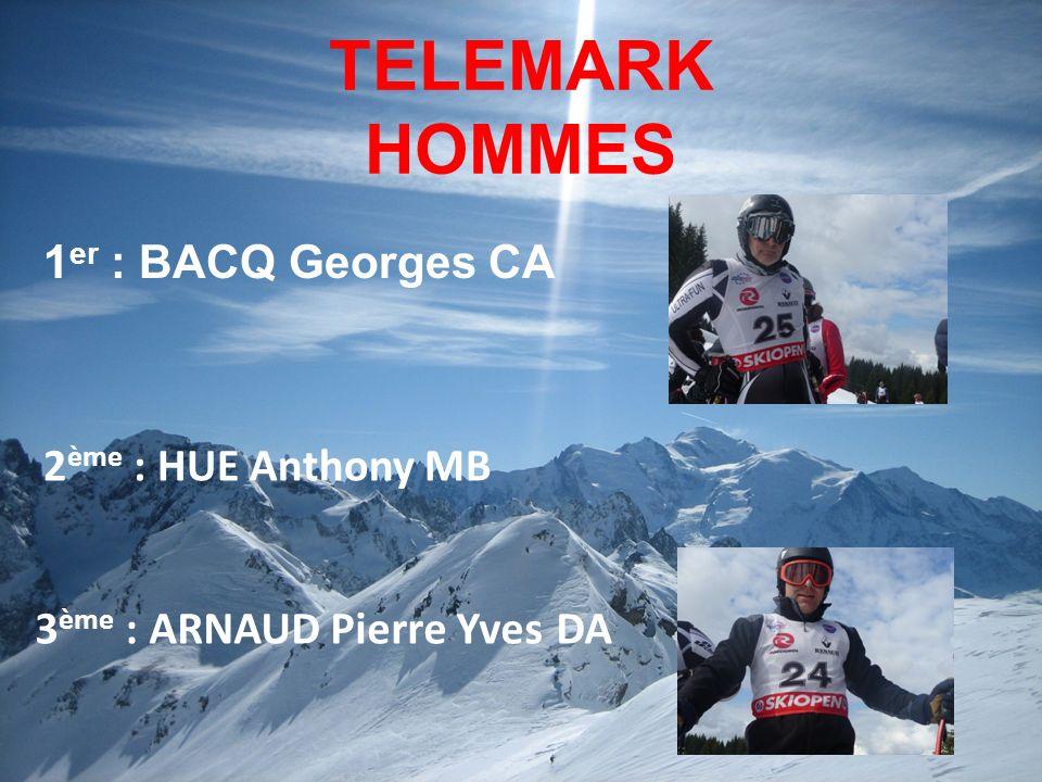 TELEMARK HOMMES 1er : BACQ Georges CA 2ème : HUE Anthony MB