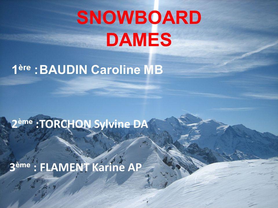 SNOWBOARD DAMES 1ère : BAUDIN Caroline MB 2ème : TORCHON Sylvine DA