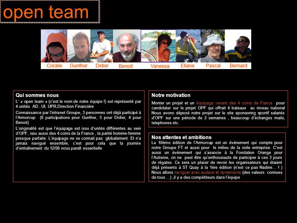 open team Qui sommes nous Notre motivation Nos attentes et ambitions