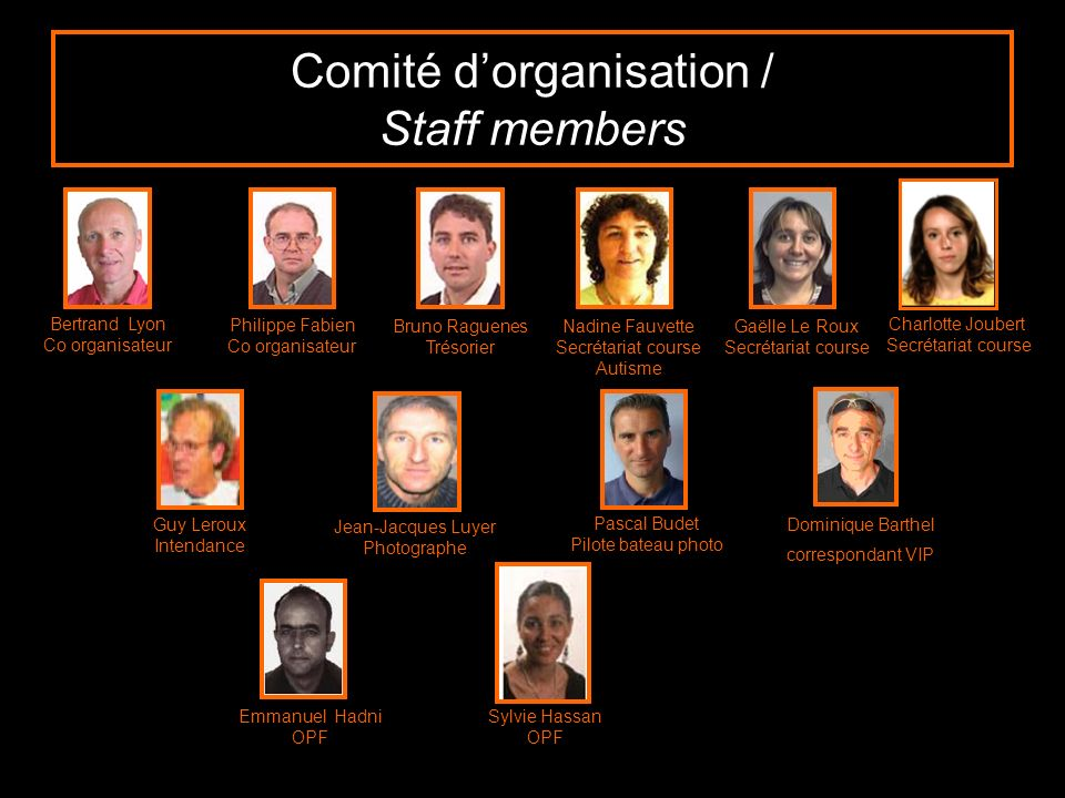 Comité d'organisation / Staff members