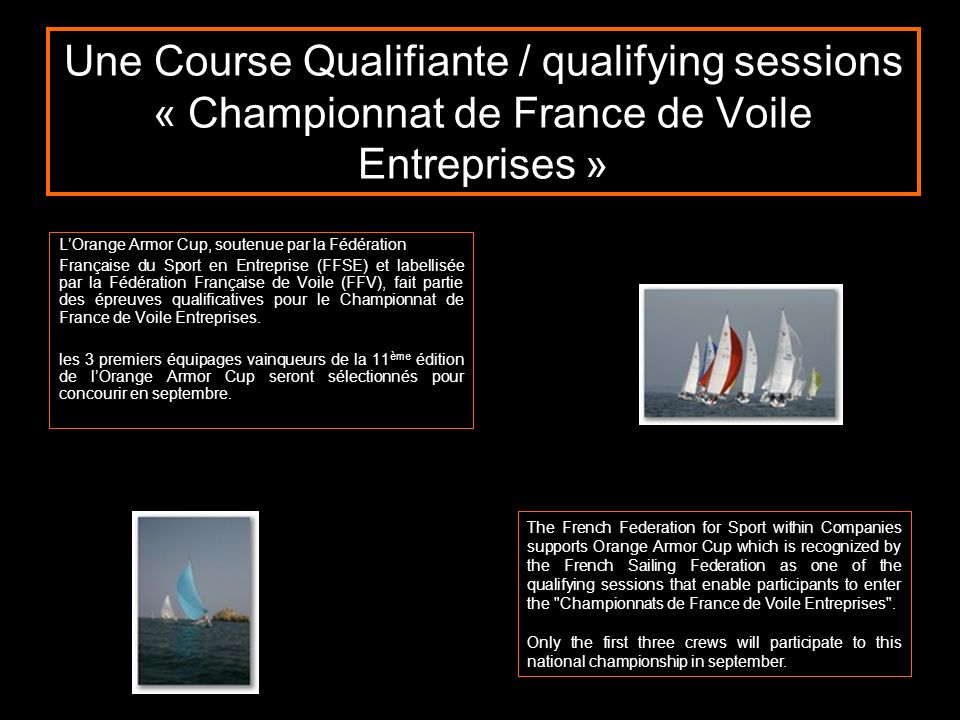 Une Course Qualifiante / qualifying sessions « Championnat de France de Voile Entreprises »
