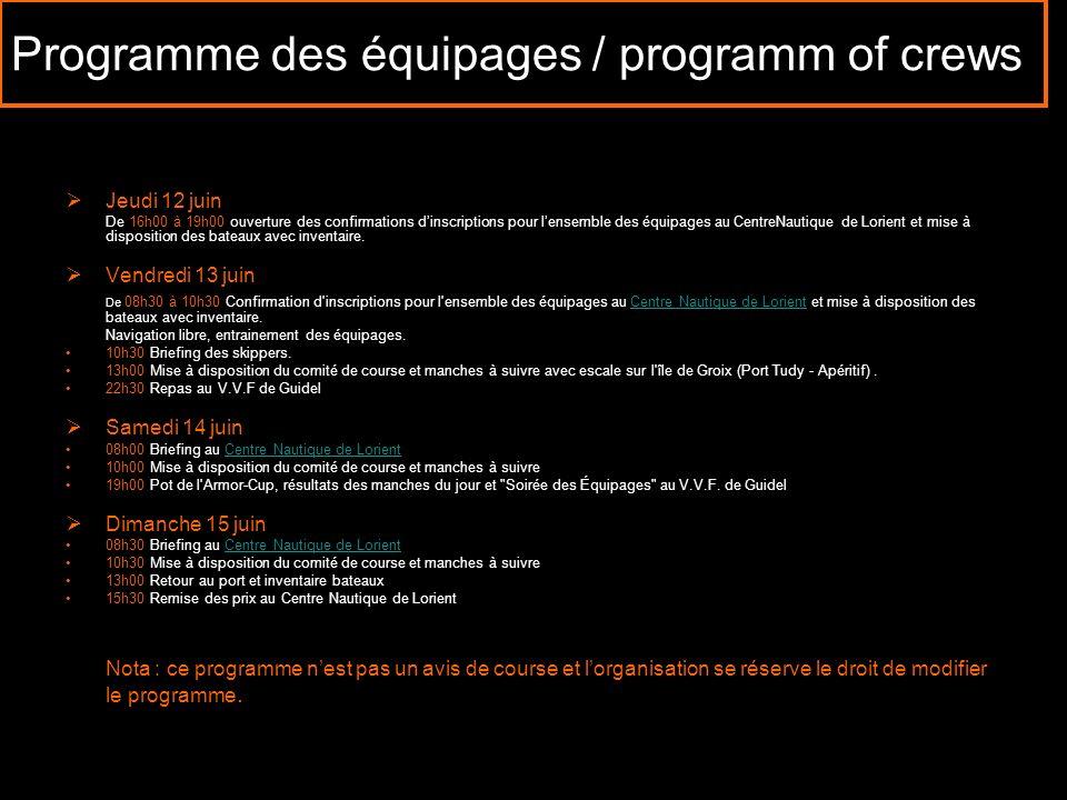 Programme des équipages / programm of crews