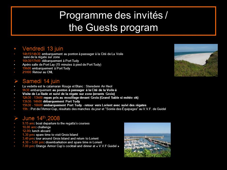 Programme des invités / the Guests program
