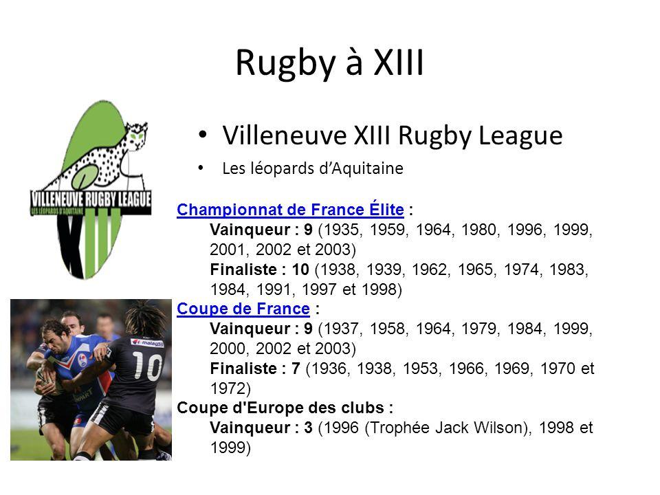 Rugby à XIII Villeneuve XIII Rugby League Les léopards d'Aquitaine