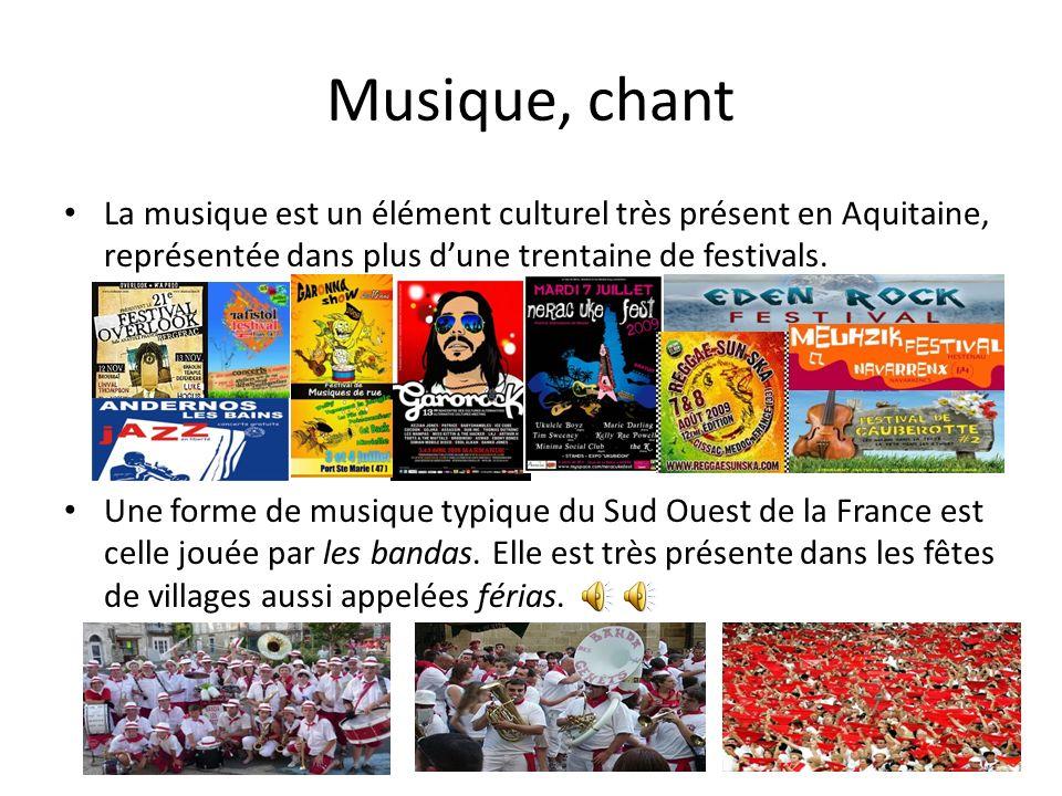 Musique, chant La musique est un élément culturel très présent en Aquitaine, représentée dans plus d'une trentaine de festivals.