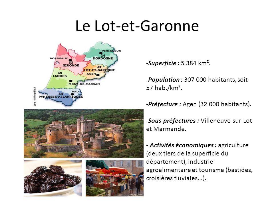 Le Lot-et-Garonne Superficie : 5 384 km².