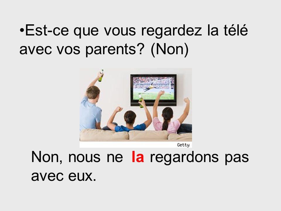 Est-ce que vous regardez la télé avec vos parents (Non)