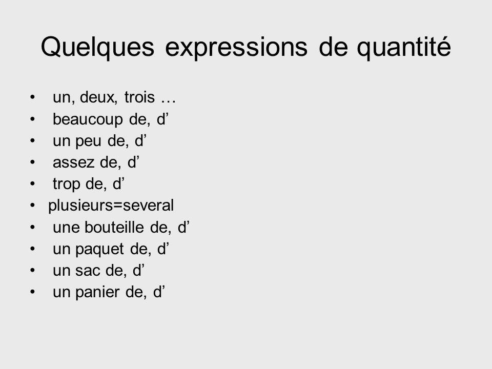 Quelques expressions de quantité