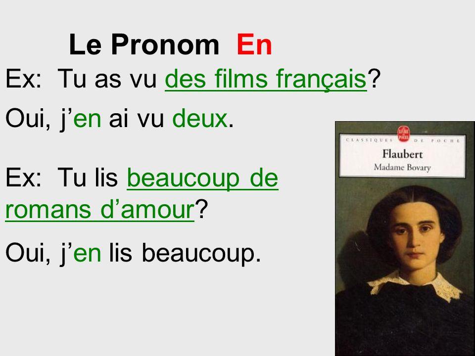Le Pronom En Ex: Tu as vu des films français Oui, j'en ai vu deux.