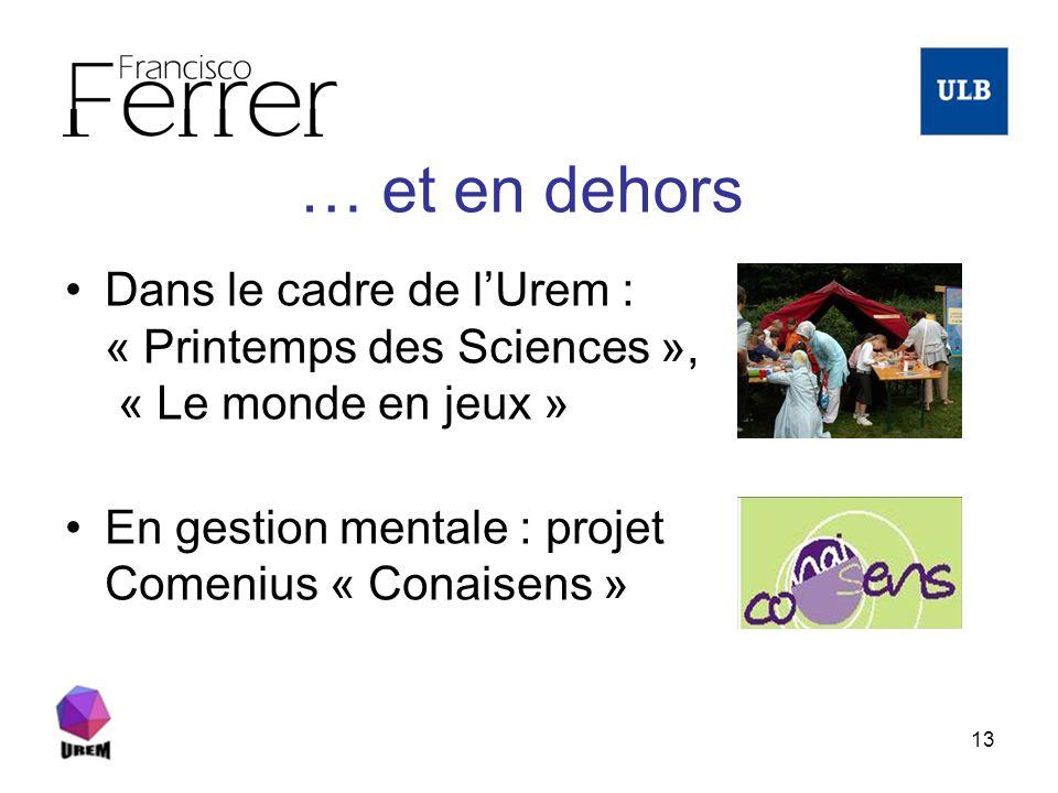 … et en dehors Dans le cadre de l'Urem : « Printemps des Sciences », « Le monde en jeux » En gestion mentale : projet Comenius « Conaisens »