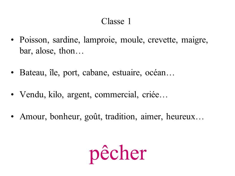 Classe 1Poisson, sardine, lamproie, moule, crevette, maigre, bar, alose, thon… Bateau, île, port, cabane, estuaire, océan…