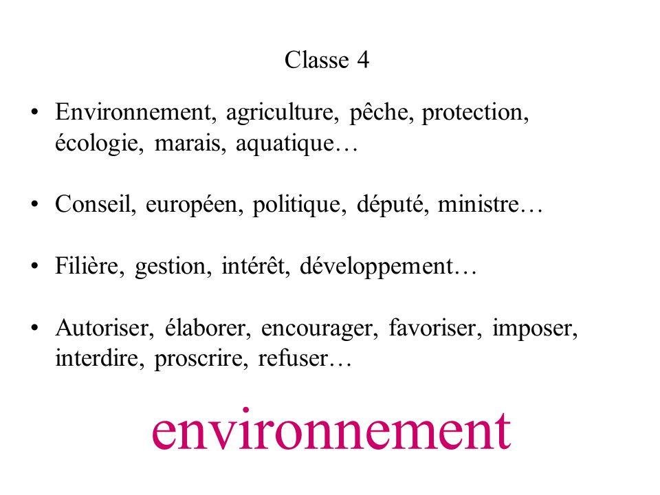 Classe 4Environnement, agriculture, pêche, protection, écologie, marais, aquatique… Conseil, européen, politique, député, ministre…