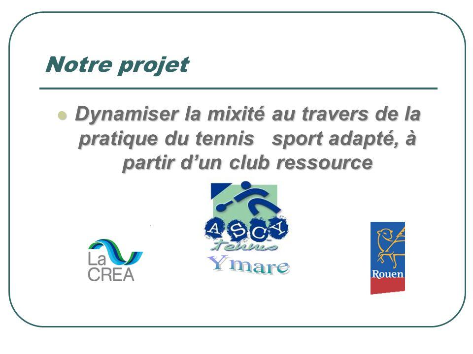Notre projet Dynamiser la mixité au travers de la pratique du tennis sport adapté, à partir d'un club ressource.