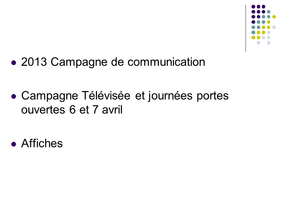2013 Campagne de communication