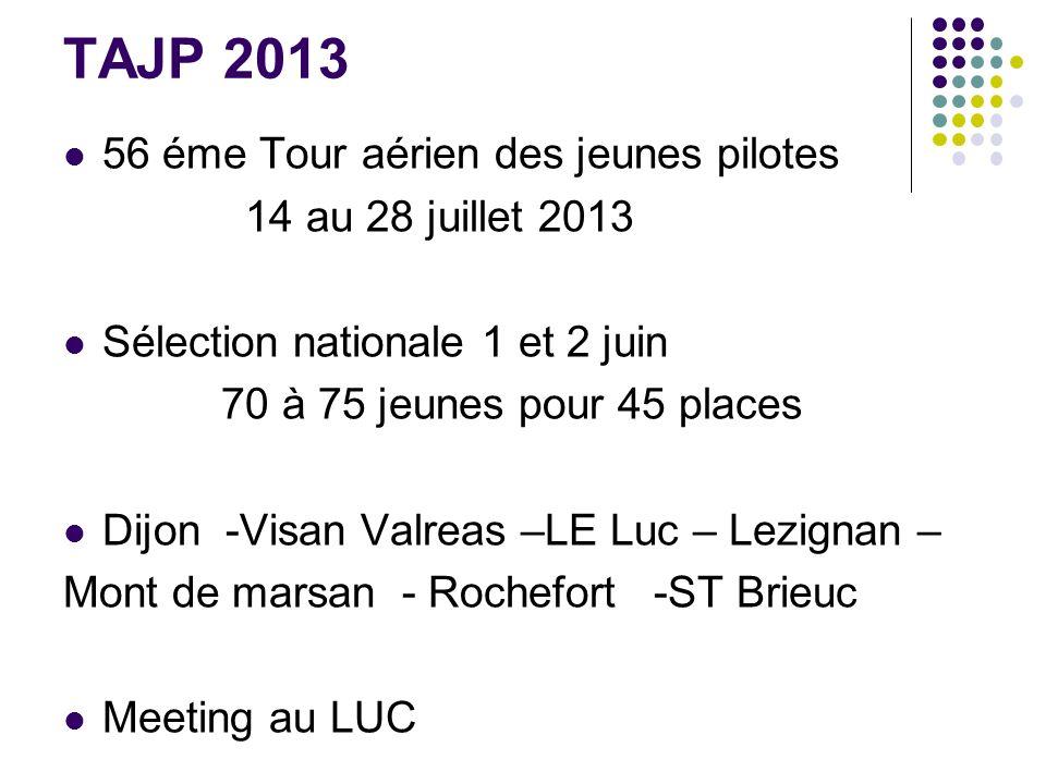 TAJP 2013 56 éme Tour aérien des jeunes pilotes 14 au 28 juillet 2013