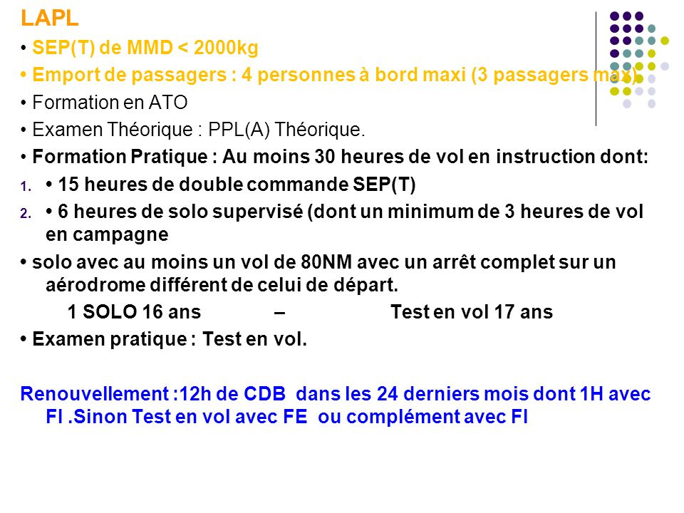 LAPL • SEP(T) de MMD < 2000kg