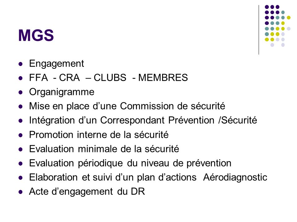 MGS Engagement FFA - CRA – CLUBS - MEMBRES Organigramme