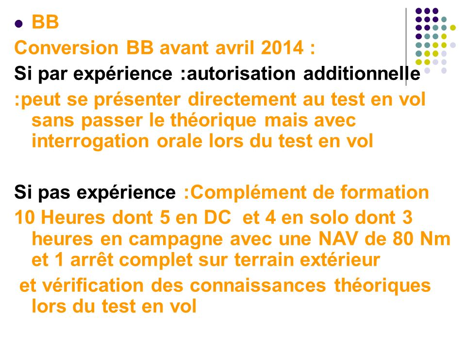 BB Conversion BB avant avril 2014 : Si par expérience :autorisation additionnelle.
