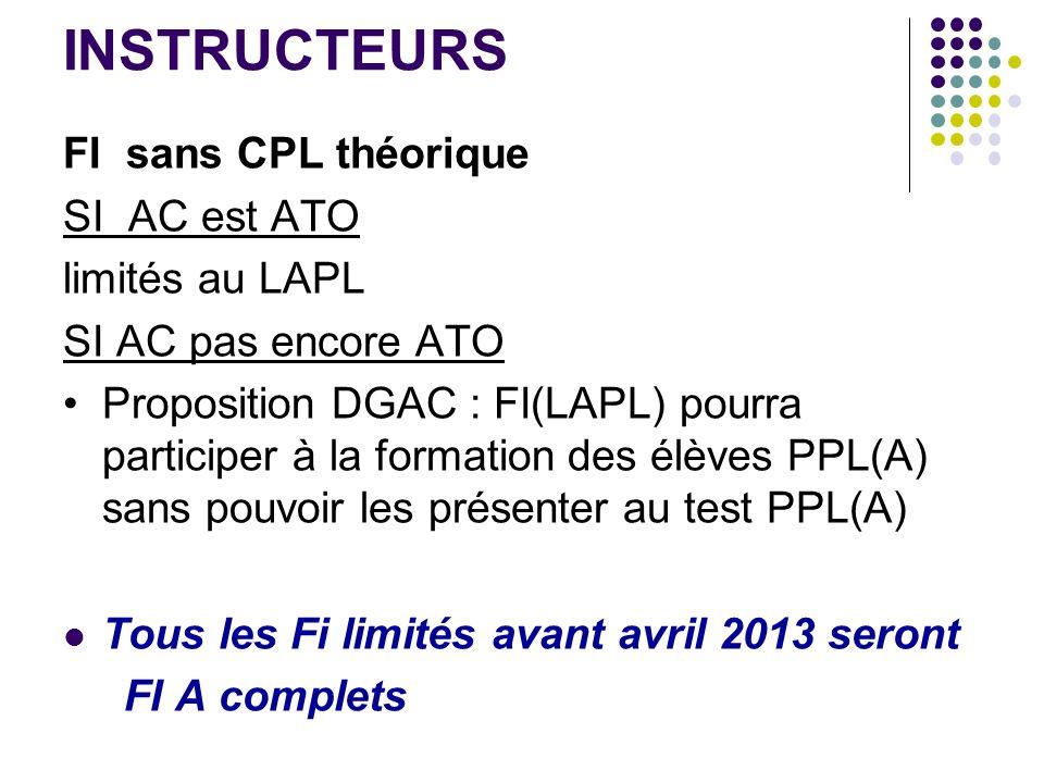 INSTRUCTEURS FI sans CPL théorique SI AC est ATO limités au LAPL