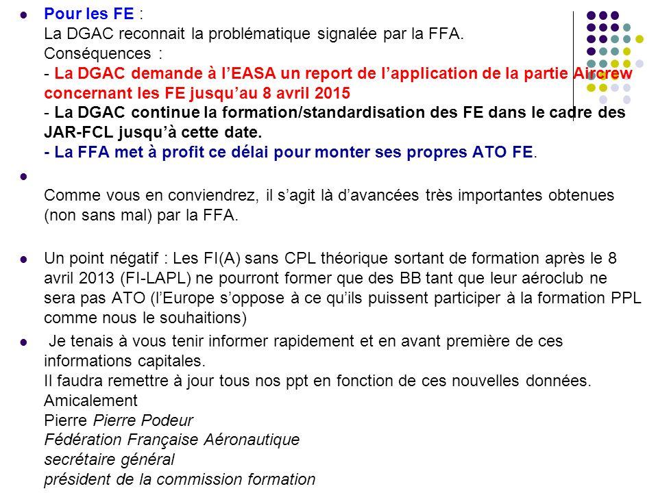 Pour les FE : La DGAC reconnait la problématique signalée par la FFA