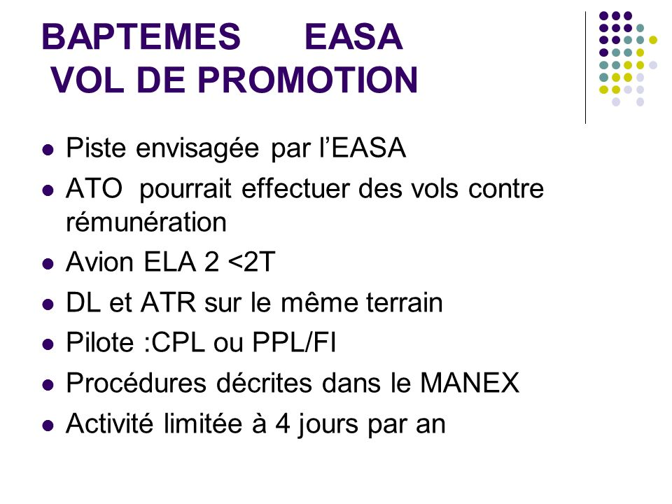 BAPTEMES EASA VOL DE PROMOTION