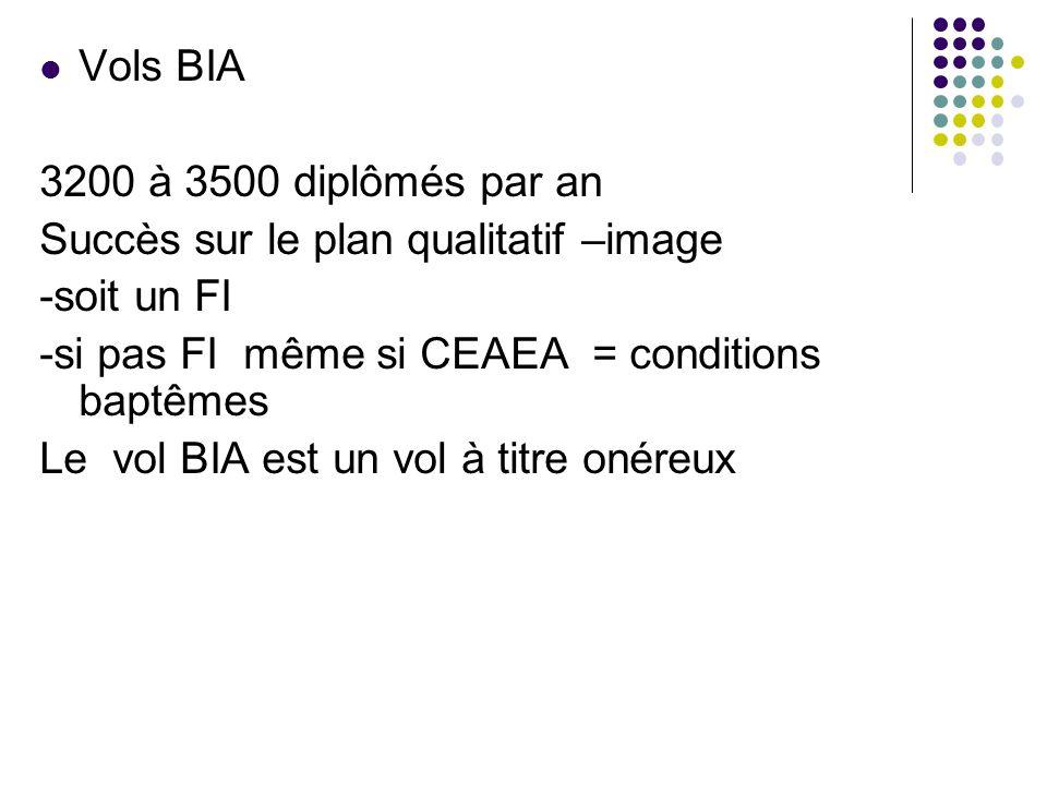 Vols BIA 3200 à 3500 diplômés par an. Succès sur le plan qualitatif –image. -soit un FI. -si pas FI même si CEAEA = conditions baptêmes.