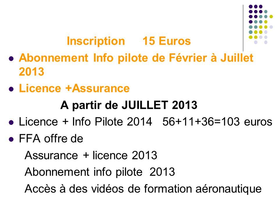 Inscription 15 Euros Abonnement Info pilote de Février à Juillet 2013. Licence +Assurance. A partir de JUILLET 2013.