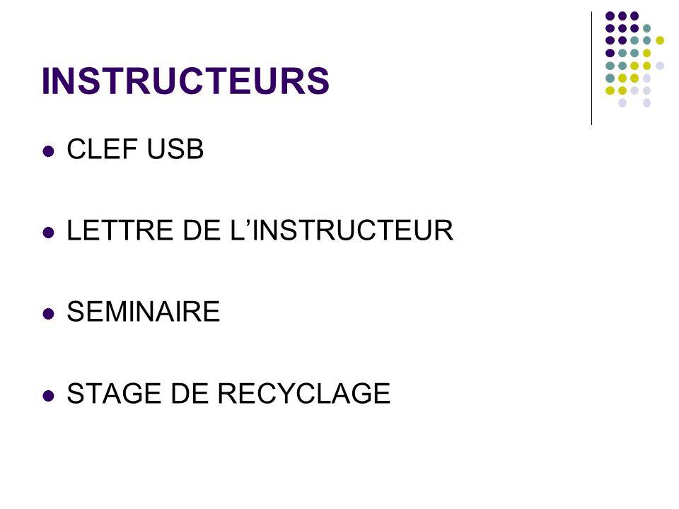 INSTRUCTEURS CLEF USB LETTRE DE L'INSTRUCTEUR SEMINAIRE