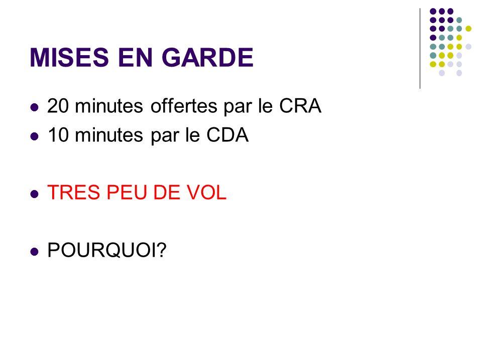 MISES EN GARDE 20 minutes offertes par le CRA 10 minutes par le CDA