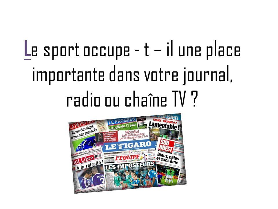 Le sport occupe - t – il une place importante dans votre journal, radio ou chaîne TV