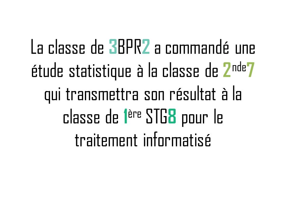 La classe de 3BPR2 a commandé une étude statistique à la classe de 2nde7 qui transmettra son résultat à la classe de 1ère STG8 pour le traitement informatisé
