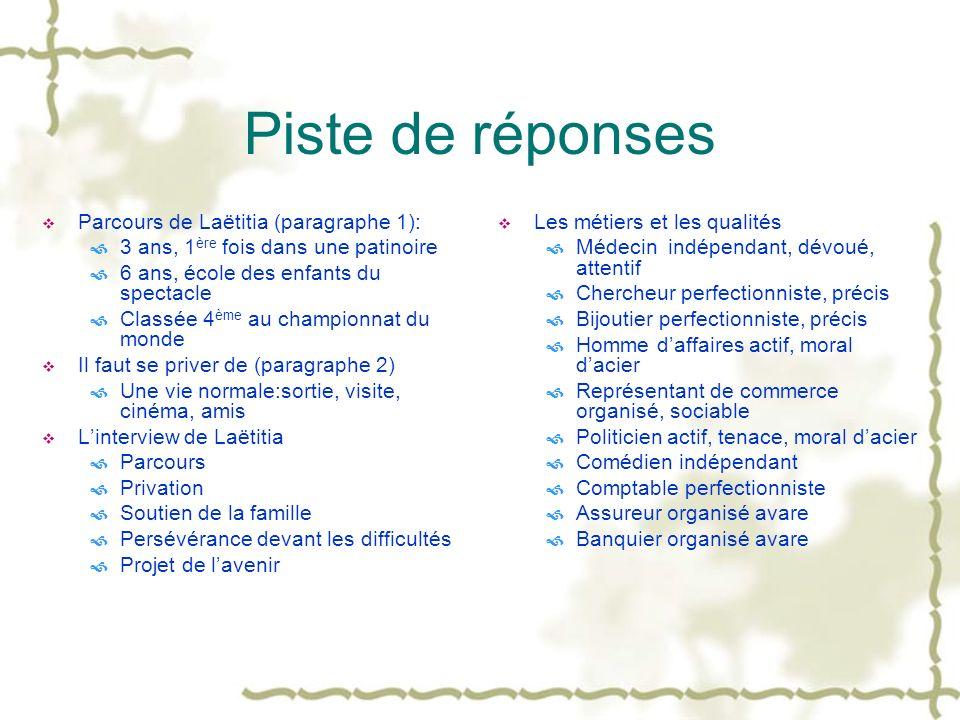 Piste de réponses Parcours de Laëtitia (paragraphe 1):