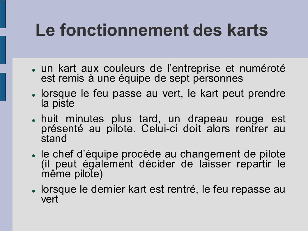 Le fonctionnement des karts