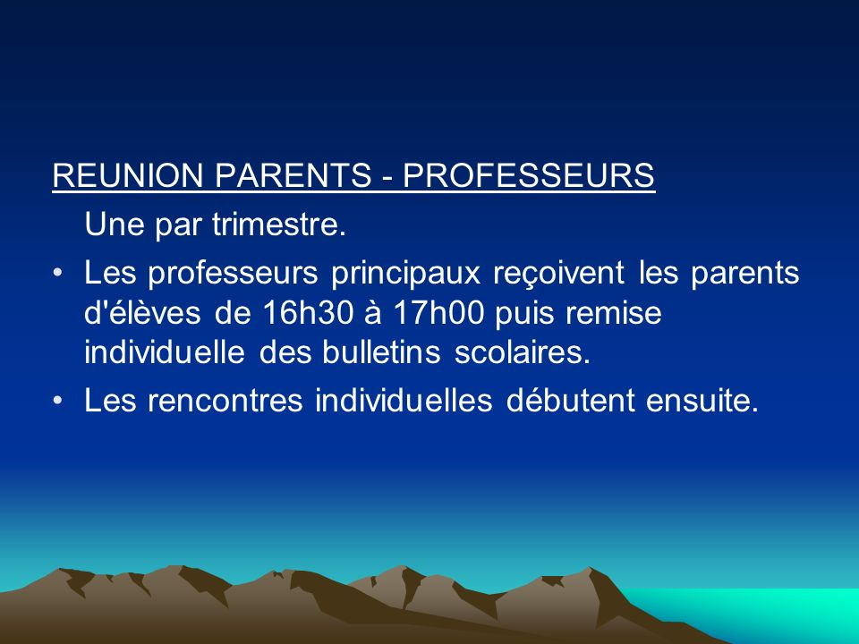 REUNION PARENTS - PROFESSEURS