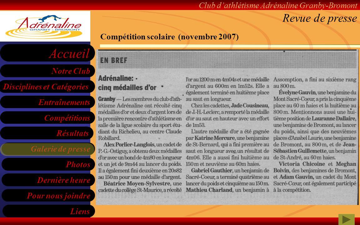 Revue de presse Compétition scolaire (novembre 2007)