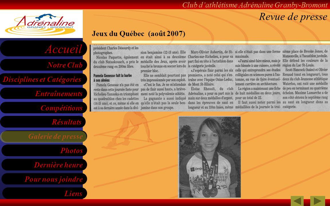 Revue de presse Jeux du Québec (août 2007)