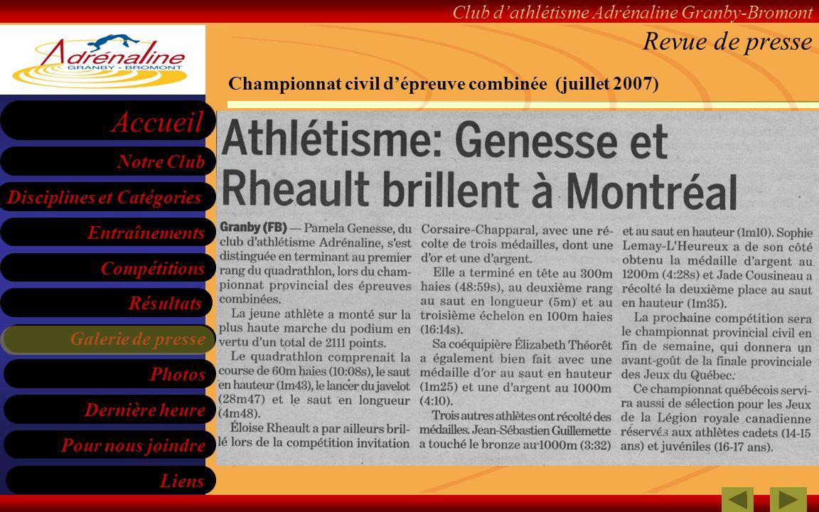 Revue de presse Championnat civil d'épreuve combinée (juillet 2007)