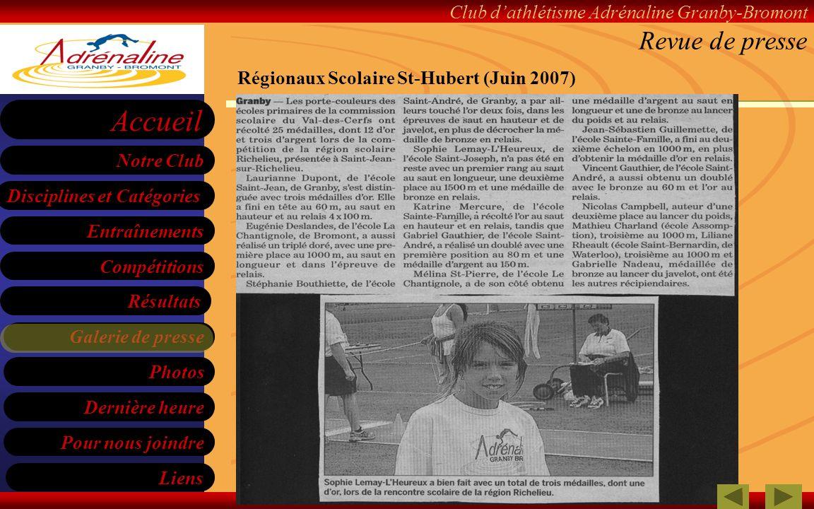 Revue de presse Régionaux Scolaire St-Hubert (Juin 2007)