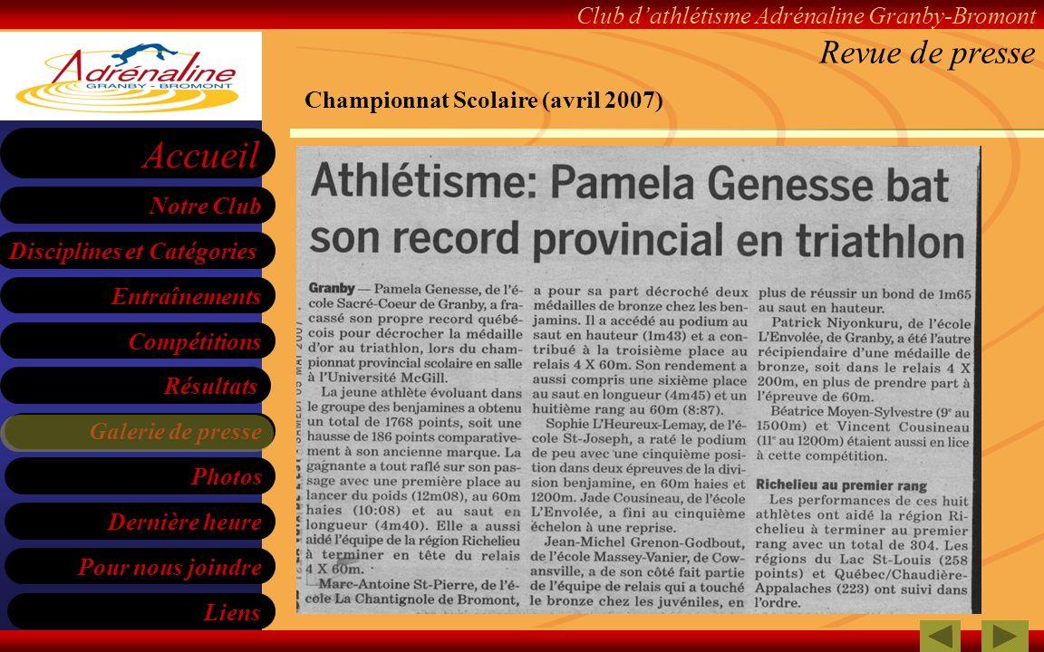 Revue de presse Championnat Scolaire (avril 2007)