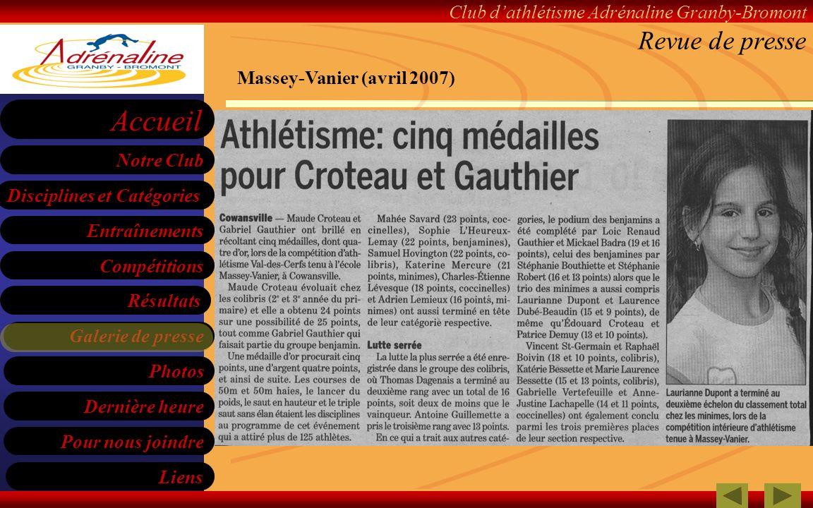 Revue de presse Massey-Vanier (avril 2007)