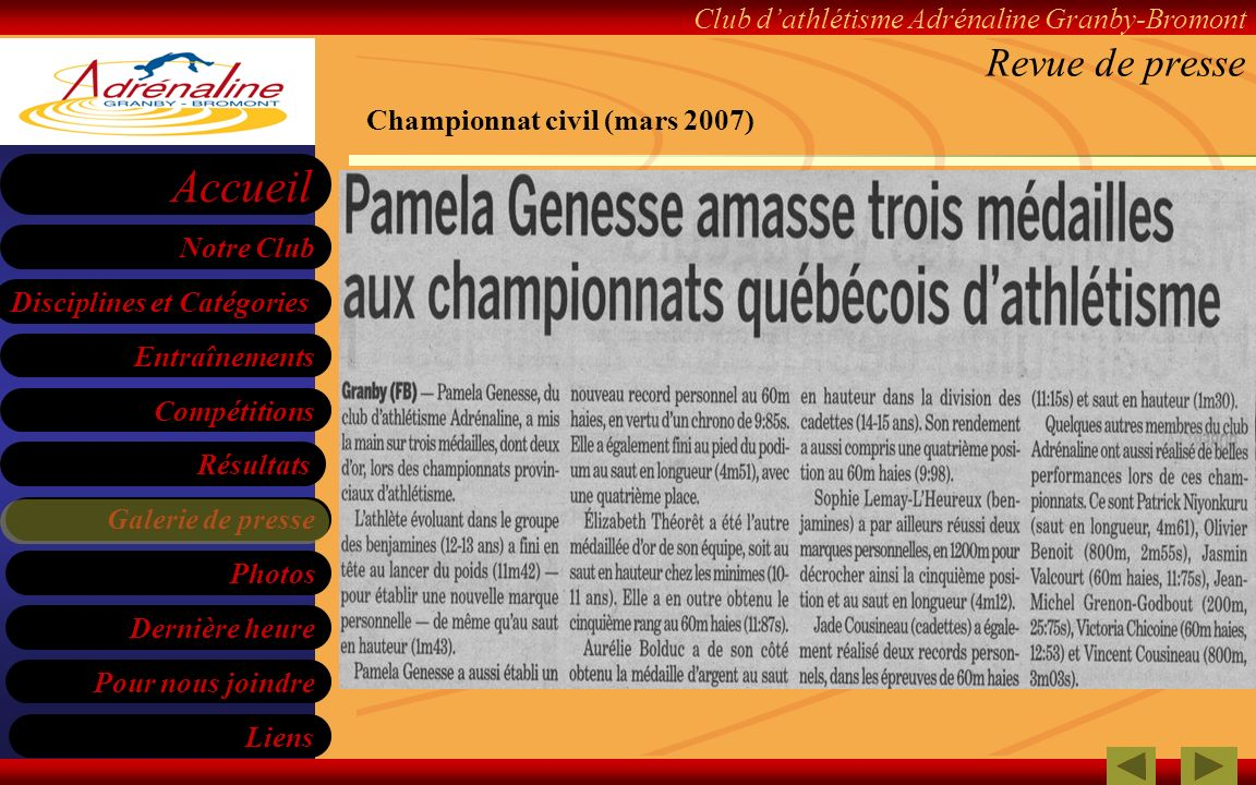 Revue de presse Championnat civil (mars 2007)