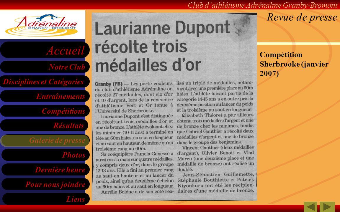 Revue de presse Compétition Sherbrooke (janvier 2007)