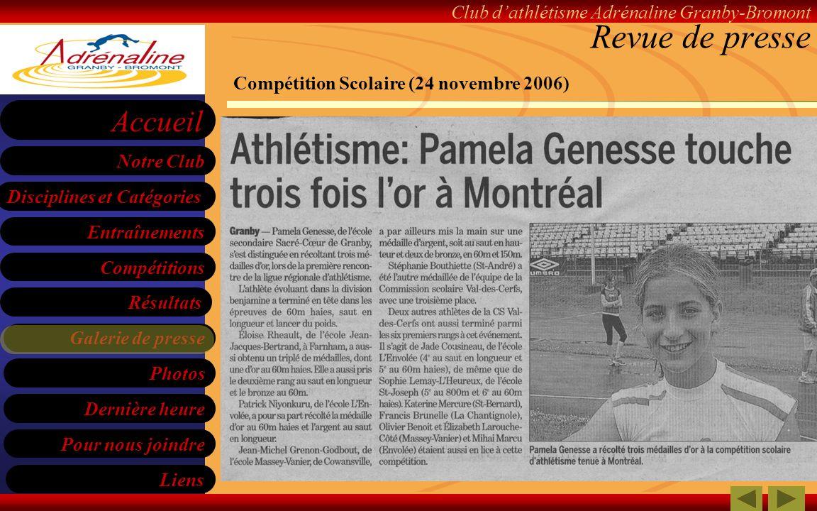 Revue de presse Compétition Scolaire (24 novembre 2006)