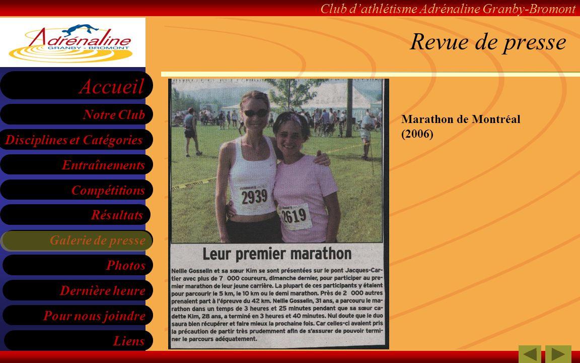 Revue de presse Marathon de Montréal (2006)