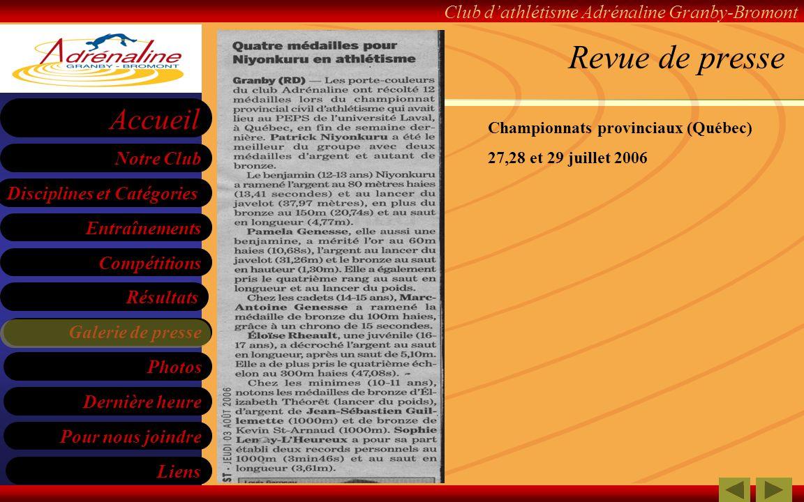 Revue de presse Championnats provinciaux (Québec)