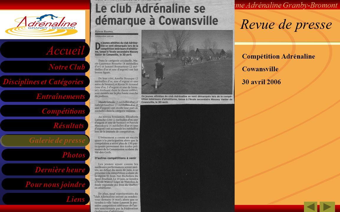 Revue de presse Compétition Adrénaline Cowansville 30 avril 2006