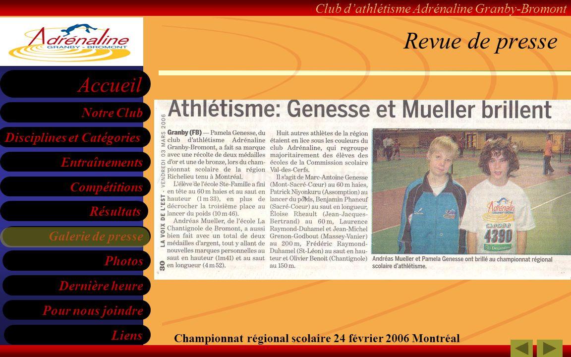 Revue de presse Championnat régional scolaire 24 février 2006 Montréal